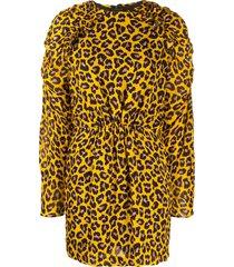 msgm animal print mini dress - yellow