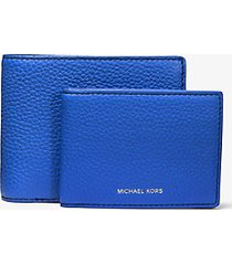 mk portafoglio a libro greyson in pelle martellata con portadocumenti - pop blue/blk - michael kors