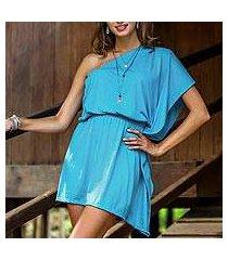cotton one-shoulder dress, 'sky-blue starlet' (indonesia)