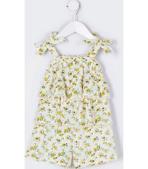 river island girls mini girl yellow floral lace frill playsuit