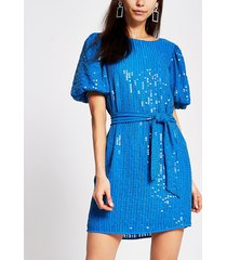 river island womens bright blue sequin tie belted mini dress