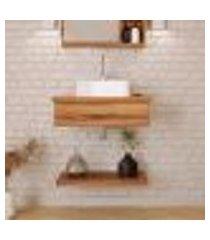 conjunto para banheiro bancada com cuba q32 quadrada e prateleira city 605 nogal