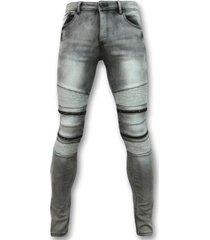 skinny jeans true rise biker jeans met rits - stretch-