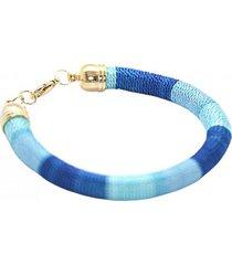 pulsera ciro tejida a mano hilo azul bijulovers