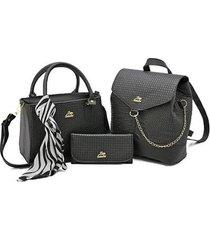 kit bolsa + mochila regulável + carteira casual feminino