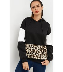 moda color block leopard mangas largas capucha