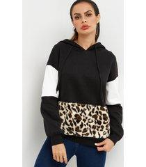 moda color block leopard mangas largas capucha