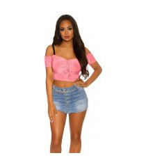 sexy off shoulder crop top koraal-kleurig