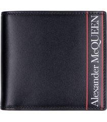 alexander mcqueen leather flap-over wallet