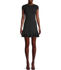 love ady women's ruffle sheath dress - black - size l