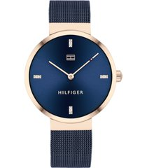 tommy hilfiger women's blue stainless steel mesh bracelet watch 35mm