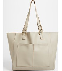maurices womens taupe braided strap tote bag brown