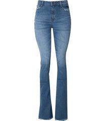 calça dudalina jeans bootcut stretch jeans feminina (jeans medio, 48)