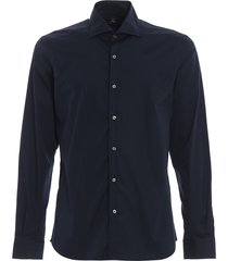fay blue stretch cotton poplin shirt