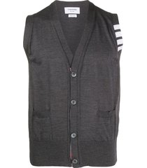 thom browne 4-bar sleeveless knitted cardigan - grey