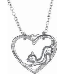 collana di cristallo del pendente del cuore del piccolo gatto di cristallo