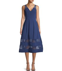 aidan by aidan mattox women's lace-trim midi flare dress - navy - size 6