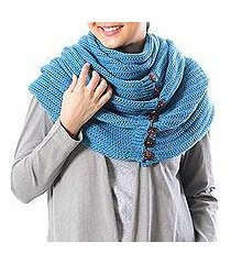 cotton convertible scarf, 'dreamscape in teal' (thailand)