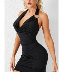 yoins amarre sin respaldo negro diseño pliegue caído vestido