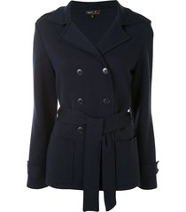 agnès b. double-breasted cross-over jacket - blue