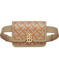 belted monogram print leather tb bag multicolor
