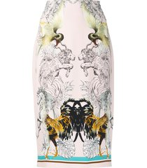 roberto cavalli hybrids animals print pencil skirt - pink