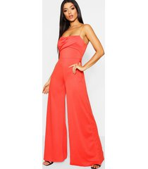 square neck wide leg jumpsuit, orange