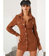 mini vestido de manga larga con botones en la parte delantera y pana de café yoins