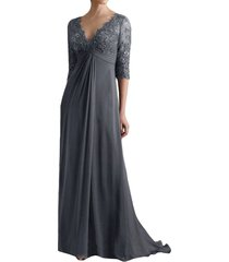 blevla empire lace chiffon mother of the bride dresses with sleeves grey us 1...