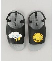 sandália infantil ipanema com sol e nuvem cinza