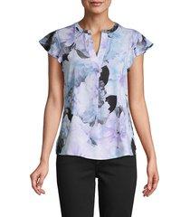 calvin klein women's floral-print split neck top - opal multi - size m