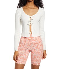 women's bp. tie front stretch cotton top, size large - ivory