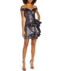 women's mac duggal off the shoulder ruffle front cocktail dress