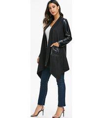 tunic asymmetric open front coat