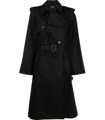 goen.j double-breasted lace-paneled trench coat - black