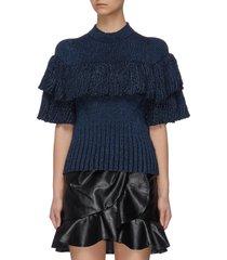 layered ruffle rib knit sweater