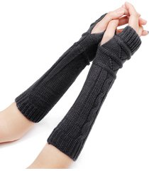 32 cm donna inverno maglieria tinta unita manica senza dita casual equitazione caldo mezzo dito guanti