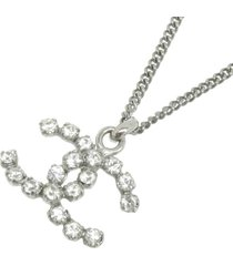 chanel cc rhinestone pendant necklace silver sz: