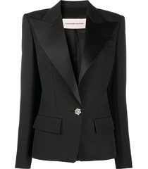 alexandre vauthier satin lapel blazer - black