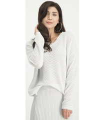 jane lushka kn814820ss elyse perforated sweater zilver