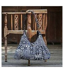 leather accent cotton blend shoulder bag, 'graceful geometry in blue' (thailand)