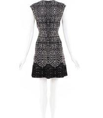 alaia stretch knit wool dress black/white sz: m