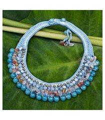 aquamarine choker, 'sweet hydrangea' (thailand)