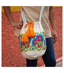 cotton blend bucket bag, 'blooming in blue' (mexico)