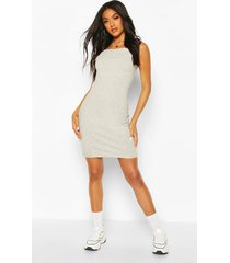 90's neck mini bodycon dress, grey marl