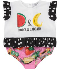 dolce & gabbana white rompers for baby girl with logo
