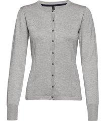 pzsara l/s cardigan stickad tröja cardigan grå pulz jeans