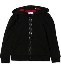 monnalisa black stretch-cotton olive oil hoodie