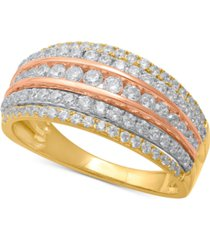 diamond tri-color multi-row statement ring (1 ct. t.w.) in 14k gold, rose gold & white rhodium-plate