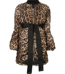 giambattista valli leopard draped bomber jacket - brown